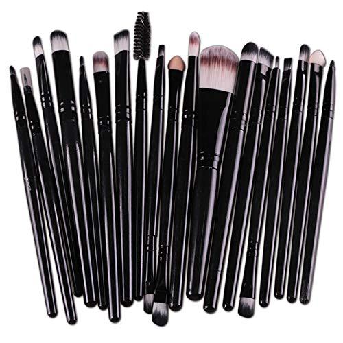 cloforsale 20 Pcs Pro Makeup Set Powder Foundation Eyeshadow Eyeliner Lip Cosmetic Brushes (black)