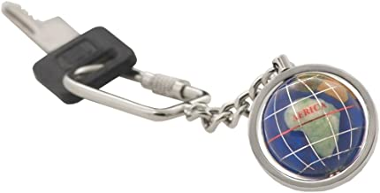 Gemstone Globe with Opalite Ocean Showcased on a Keychain Color: Caribbean Blue, Finish: Bright Silver