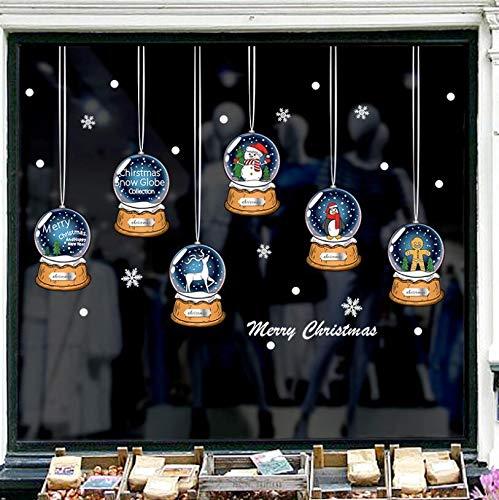 Romote Natale Sfere di Cristallo Negozio Sticker di Natale Babbo Natale Elk Adesivi murali Finestra Vetrina Decorazione per Vetro Poster Negozio Decori