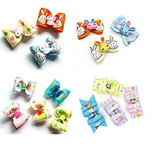 Senniea 30pcs Easter Dog Hair Bows with Rubber Bands Beads Rhinestone Dog Hair Accessories Egg Rabbit Bows Topknot