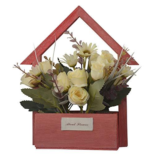 Hogar y Mas Flores Artificiales para Jardín con Macetero Rojo de Madera Natural, Flores Blancas Decorativas Vintage 24x6x16 cm