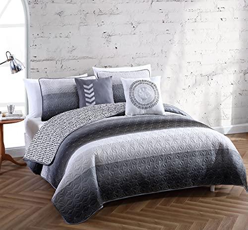 Avondale Manor 5-Piece Cypress Quilt Set, Queen Quilt Set, Lightweight Ultra-Soft Microfiber, Reversible Comfortable Bedding Set, Hypoallergenic Bedspread, Queen, Black/Grey