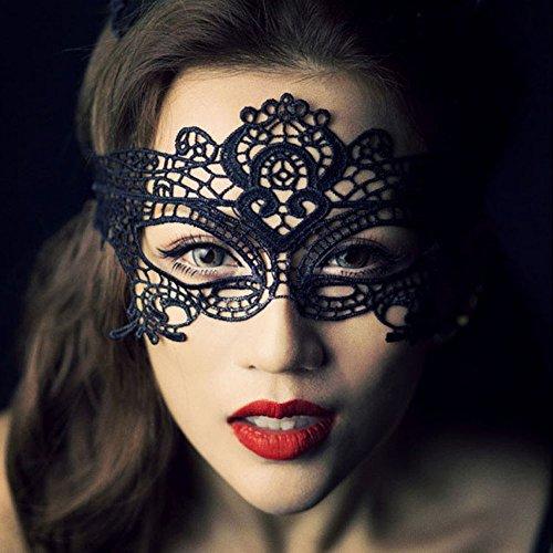 YPSelected Máscara Veneciana para Mujer, Color Negro, Talla única