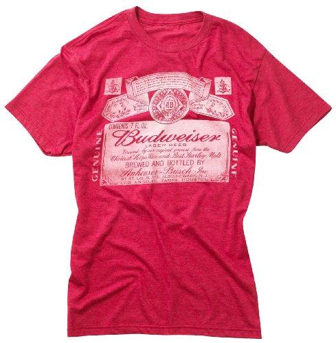 Budweiser Label T-Shirt HEATHER RED Md