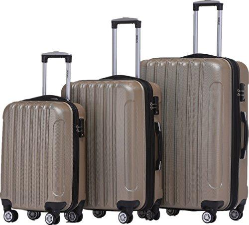 BEIBYE TSA Schloß 2050 Hartschale Trolley Koffer Reisekoffer in M-L-XL-Set (Champagner, Set)