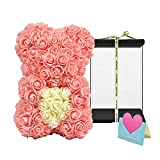 TNZMART 10 Inch Rose Bear Handmade Flower Bear with Black Box Rose Teddy Bear for Birthday Anniversary Mother's Day Valentines Day (Peach Pink)