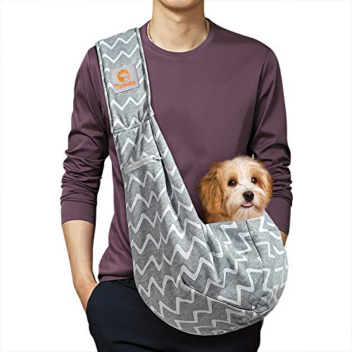 TOMKAS Small Dog Cat Carrier Sling Hands Free Pet Puppy Outdoor Travel Bag Tote Reversible (Grey Stripes for 3-10 lbs)
