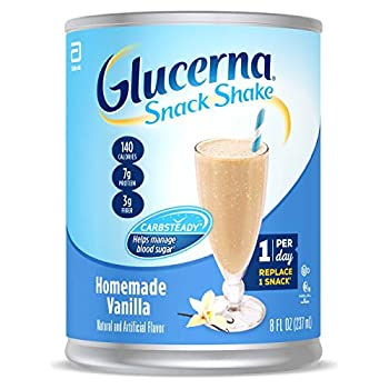 Glucerna Snack Shake Diabetes Nutritional Shake with CARBSTEADY to Help Manage Blood Sugar 7g of Protein and 3g of Fiber Homemade Vanilla 8 fl oz  Pack of 16
