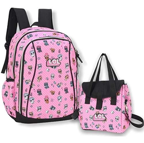 Mochila Escolar Costas Estampada Pets Lol Grande Lancheira Rosa