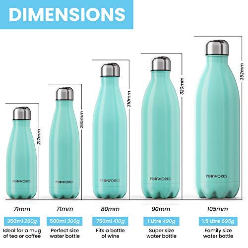 Proworks Bottiglia Acqua in Acciaio Inox, Senza BPA Vuoto Isolato Borraccia Termica in Metallo per Bevande Calde per 12 Ore & Fredde 24 Ore, Borraccia per Sport, Lavoro e Palestra - 500ml - Verde