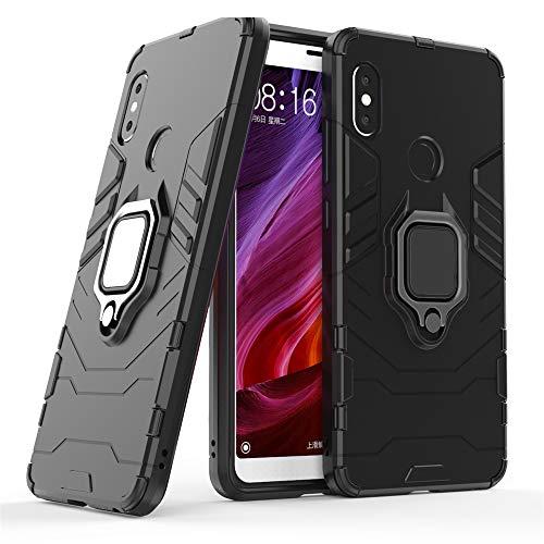DESCHE para Funda Xiaomi Redmi Note 5 Pro, Funda para Soporte de Anillo + Protector de Pantalla, Compatible con el Soporte magnético para automóvil (no Incluye un Soporte magnético) - Nero