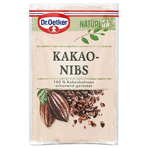 Dr. Oetker Natürlich Kakaonibs 50 g – die aus 100% Kakaobohnen bestehenden Stückchen begeistern mit natürlich puren Geschmack alle, die beim Backen auf einen bewussten Ernährungsstil setzen, 1er Pack
