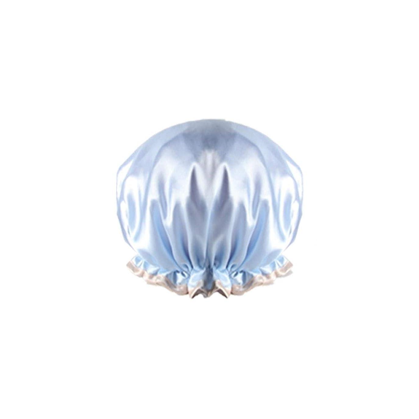 任命するゲインセイ委任するMEIYUFUZHUANG-A シャワーキャップ、防水大人の女性のシャワーキャップ、入浴キッチンフード、シャワーキャップ、ヘアスタイリングキャップ、紫色の抗フードキャップ、ピンク、ブルー、シャンパン、 家庭用品 (Color : Blue)