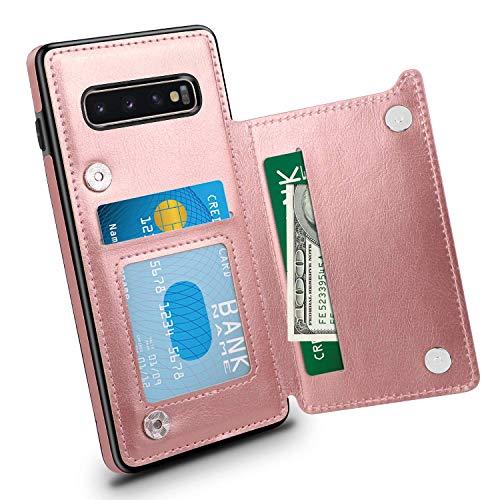 Suhctup Compatibile con Custodia Samsung Galaxy S10 Plus Pelle,Cover Samsung S10 Plus con Interno Morbida TPU,Porta Carte Slot e Antiurto Flip Wallet [Chiusura Magnetica] Protettiva Case (Oro Rosa)