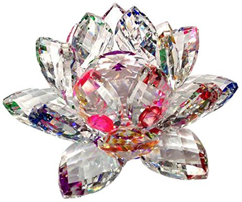 Amlong Crystal 4 inch Sparkle Crystal Lotus Flower Feng Shui Home Decor with Gift Box