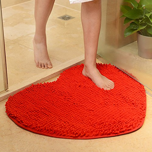 "YJ Bear Sweet Heart Pattern Chenille Anti-Slip Microfiber Doormat Solid Color Non-Slip Area Rug Carpet Shaggy Floor mat Soft Bath Mat for Home Bedroom Bright Red 20"" X 24"""