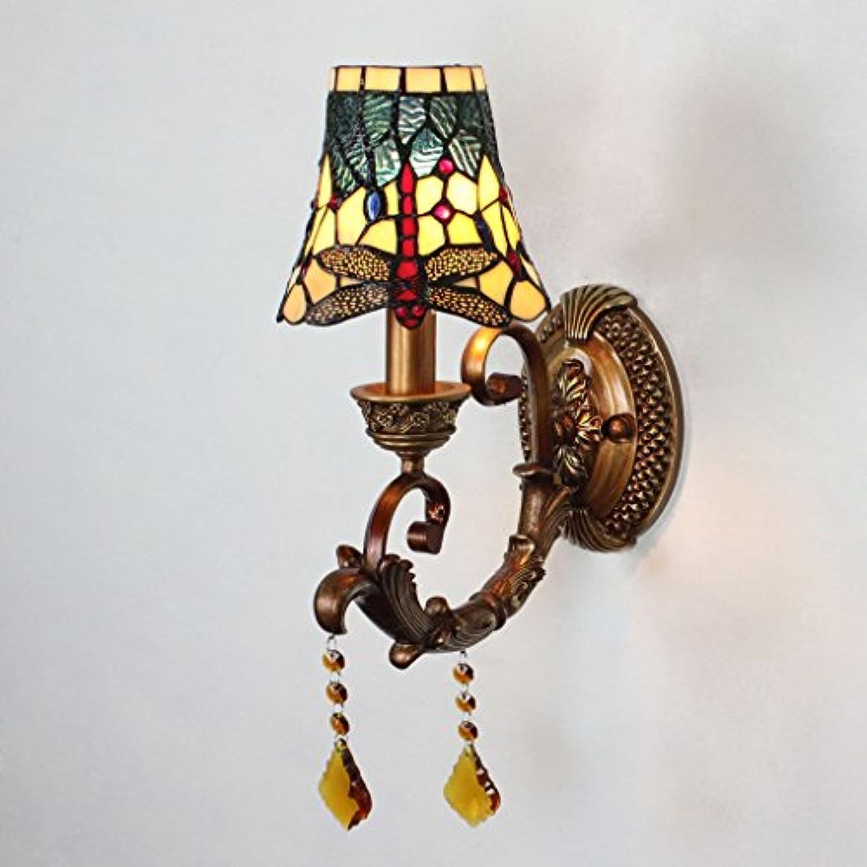 Gweat 7 Zoll Libelle Vintage Glasmalerei Wandleuchte Schlafzimmer Nacht Flur Flur Wandleuchte