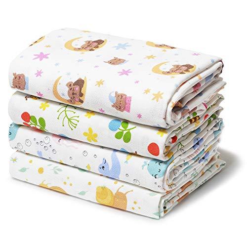 Niimo Muselina Recién Nacido 4 Piezas 120x120 cm en 100% Algodón Suave Manta Abrigo Multifuncional Cuadrados para Niños Toalla de Bebé(Multicolor)