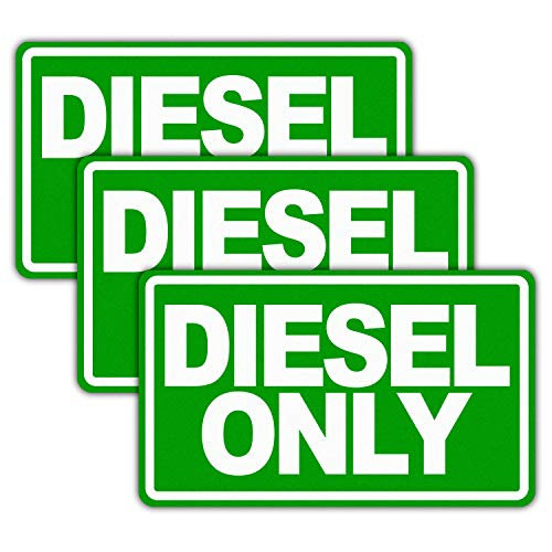 """Anley 5"""" X 3"""" Diesel Only Decal 3Pcs - Reflective Diesel Only Sign on Fuel Tank Signage to Prevent User Error - Adhesive Fuel Stickers for Trucks, Tractors, Machinery - 3 Pack Set"""