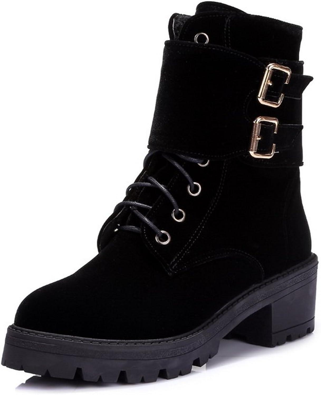 AdeeSu Girls Chunky Heels Buckle Platform Imitated Suede Boots