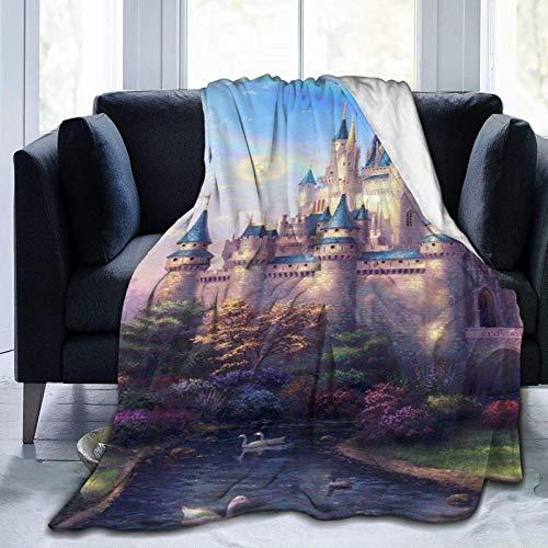 Manta de microfibra ultrasuave, castillo mágico, decoración del hogar cálida manta para sofá o cama, 80 x 152 cm