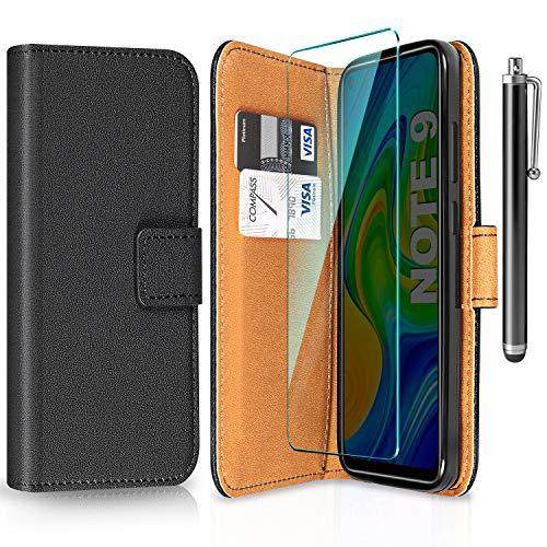 ivencase Funda para Xiaomi Redmi Note 9 + Protector de Pantalla + Pen, Libro Caso Cubierta la Tapa magnética Protector de Billetera Cuero de la PU Carcasa para Xiaomi Redmi Note 9 (Black)