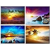 Piy Painting 4X Cuadro sobre Lienzo Paisaje de Playa al Amanecer Imagen de Belleza de la Naturaleza Canvas Wall Art Listo para Colgar Impresión de la Lona Aniversario 30x40cm
