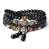 COAI Collier Mala Bracelet Multi-Tours Perles Bouddhistes Onyx Noir Œil de Tigre...