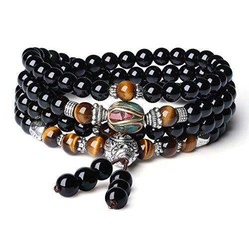 coai 108 6mm Onyx Tigerauge Nepalesische Perlen Tibetisches Wickelarmband Halskette für Damen/Herren