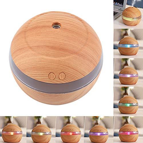 Aroma Öl Diffusor Kühler Nebel Luftbefeuchter, Holzmaserung USB 300ml Ultraschall Super Quite Aromatherapie Aroma Diffusor mit LED Nachtlicht zum Zuhause Baby Zimmer Studie Yoga(Helles Holz)