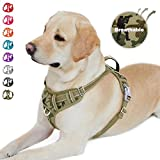 BARKBAY No Pull Dog Harness Front Clip Heavy Duty Reflective Easy Control Handle for Large Dog Walking with ID tag Pocket(Camo,L)