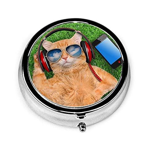 Cat Wearing Sunglasses Custom Fashion Silver Round Pill Box Medicine Tablet Holder Wallet Organizer Case For Pocket Or Purse Vitamin Organizer Holder Decorative Box