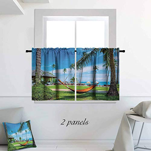 Beach Hammock Decor Collection Kitchen Tier Curtains Cafe Curtains Hammock Between Palm Trees Honeymoon Holiday Resort Picture 2 Panels Rod Pocket Cafe Tier Curtains Pair 30 x 24 inch