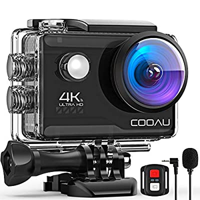 COOAU 4K 20MP Wi-Fi Action Camera External Microphone Remote Control EIS Stabilization Underwater 40M Waterproof Sport Camera Time Lapse with 2X1200mAh Batteries and 20 Accessories by COOAU