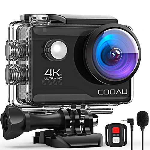 COOAU 4K 20MP Wi-Fi Action Camera External Microphone Remote Control EIS Stabilization...