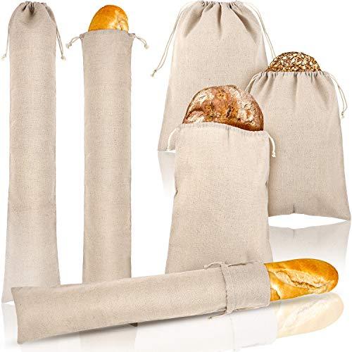 6 Piezas Bolsas de Pan de Lino Bolso de Cordón Reutilizable Bolsa de Almacenamiento de Pan para Hogaza, Baguette, Pan Artesanal Casero y Más Comida, 2 Tamaños