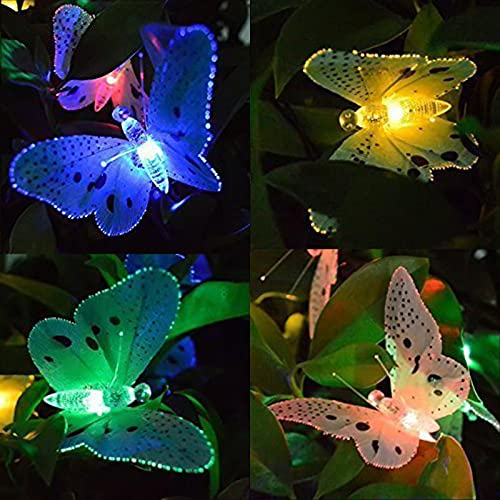 Solar Light Garden, ZQX 12 Led Fiber Optic Solar Butterfly Lights Outdoor String IP65 Waterproof Fairy Lights Multi-Color Solar Lamp for Balcony, Yard, Patio, Lawn, Pathway, Party, Holiday Decor