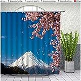 Schneeberg-Pfirsichblüte Duschvorhang, hochwertige, 100prozent Polyesterfaser, wasserdicht, Antischimmel-Effekt, einschlielich 12 Duschvorhangringe