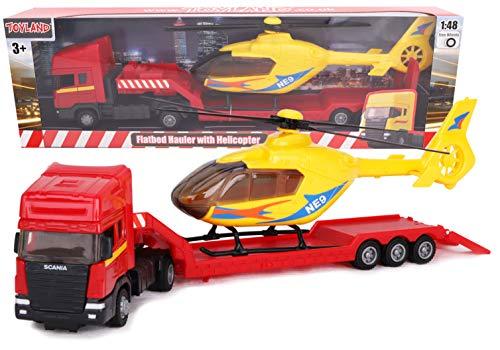 Toyland® - Transportador de superficie plana Scania con helicóptero - Escala 1:48 - Rueda libre - Juguetes para vehículos de transporte - Artículos coleccionables para vehículos - Juguetes para niños (Camión Rojo / Helicóptero Blanco)