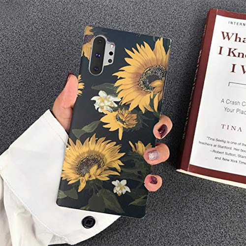 Topwin Floral Case for Galaxy Note 10, Flexible Soft TPU with Florwer and Leaf Pattern Slim Fit Lightweight Cute Case for Girls Women Compatible with Samsung Galaxy Note 10 (Black Sunflower)