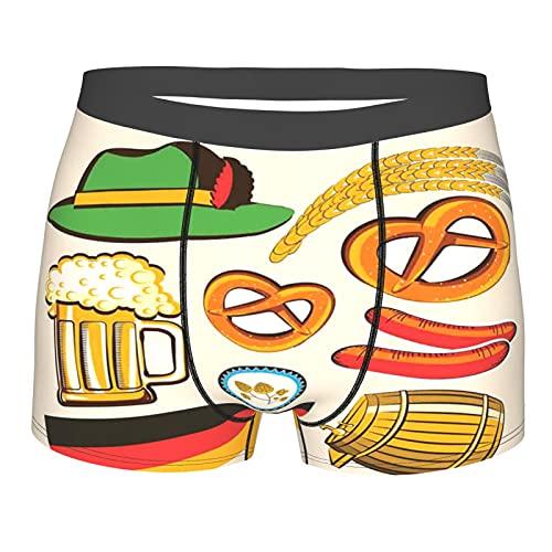 GKGYGZL Herrenunterwäsche,Oktoberfestsymbole Weizenwurst Bier und Brezeln Buntes bayrisches Arrangement,Boxershorts Atmungsaktive Komfortunterhose Größe M