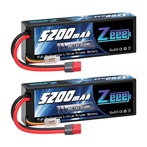 Zeee 7.4V 2S Lipo Battery 5200mAh 80C Hard Case Battery Deans T Plug with Housing for 1/8 1/10 RC Vehicles Car Slash X-Maxx RC Buggy Truggy RC Airplane UAV Drone FPV(2 Pack)