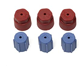 BO-BOLING 6Pcs R134a 13.8mm &17.6mm Air Conditioning Service AC A/C System Cap Charging Port Caps High Low Side(3Red High & 3Blue Low)