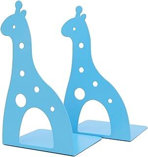 Söt tecknad giraff form halkfri metall bokstöd bokände böcker hållare skrivbord organiserare för barn gåva hem kontor deko...