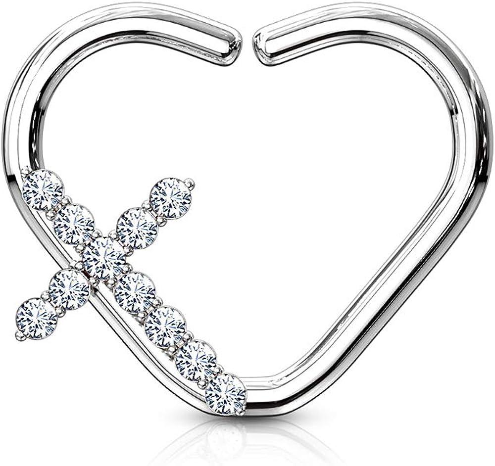 Dynamique CZ Paved Cross Heart Shape Ear Cartilage, Daith Hoop Rings (Sold Per Piece)