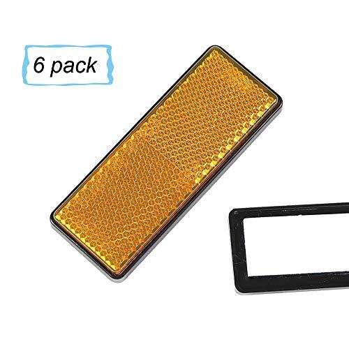 AOHEWEI 6 x Rückstrahler Selbstklebend Gelb Seitenstrahler KatzenaugenReflektoren Rechteckig zum Aufkleben Sicherheit hinten Reflektierend für ZaunpfostenAnhänger Wohnwagen ECE - zulassung (gelb)