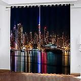 STWSXQ cortinas niño niña habitacion opacas con ojales 2 piezas 3D Vista nocturna de la ciudad de Nueva York Patrón 100x160cm(An x AL)cortinas termicas aislantes frio y calor salón dormitorio ventana