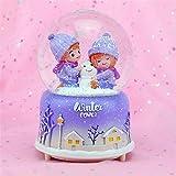 JUJ Crystal Ball Caja de música Pink Girl Star Moon Rainbow Unicorn Copos de Nieve Brillantes Caja de música Decoración del hogar Adorno de Escritorio
