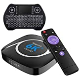 Android TV Box 10.0,H616 Smart TV Box 4GB 32GB Support 2.4G/5.8G WiFi Bluetooth 4.1 with Mini Backlit Keyboard Ethernet LAN 3D 6K Plus Video Android TV Player Google Mini PC Set Top TV Box