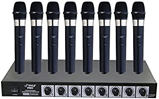 Pyle-Pro PDWM8400 8 Mic Professional Handheld VHF Wireless Microphone System